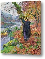 Картина Деревенская девушка на берегу реки
