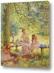 Портрет жены художника и их дочек Ольги и Марины