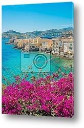Постер Греция, Сирос, художественный вид на сторицу