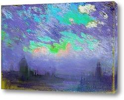 Картина Зеленый, синий и фиолетовый