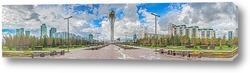 Постер Казахстан. Панорама центра города Астана - водно-зеленый бульвар