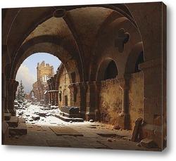 Постер Вид церкви, руины,зимний период