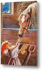 Постер Санта-Клаус кормление лошадив конюшне