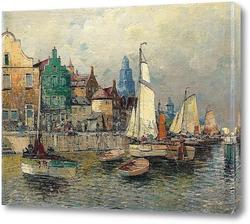 Картина Портовый город с парусниками
