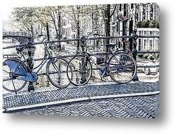 Амстердам, Канал и велосипед. Голландия