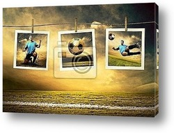 Постер Photocards of football players on the outdoor field