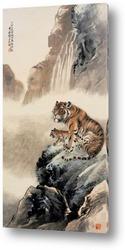 Постер Тигры у водопада