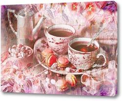 Постер Вкусный кофе и макаруны