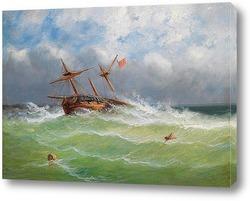 Парусный корабль в бурном море
