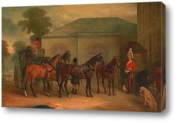 Преподобный и миссис Генри Палмер с их шести детьми младшего воз
