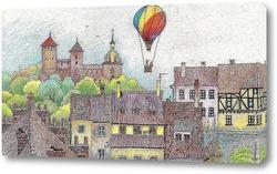 Постер Мангольф над городом. Решель. Польша.