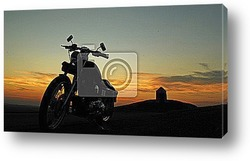 Постер Мотоцикл на закате.