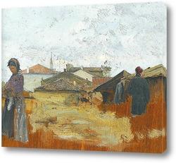 Картина Деревня и женщина с керамикой