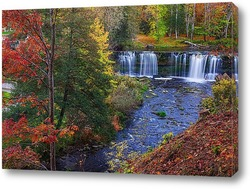 Постер золотая осень и водопад