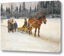 Постер Зимние сани с детьми, 1940