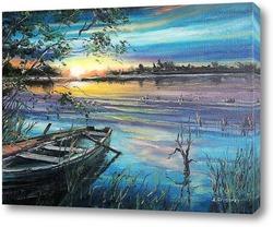 Рыболовный домик на закате