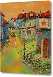 Постер Триптих. Городок. Желто-зеленый трамвай.