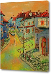 Картина Триптих. Городок. Желто-зеленый трамвай.