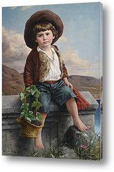 Изображение крестьянского мальчика с корзинкой винограда