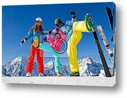 Постер Skiing, winter fun - happy family ski team