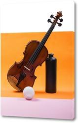 Постер Натюрморт со скрипкой, шаром и бутылкой