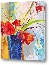 Букет красных тюльпанов и бабочки