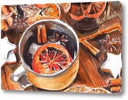 Картина Глинтвейн, цитрусы и специи
