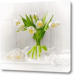 Постер Букет белых тюльпанов