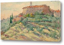 Постер Итальянский пейзаж с замком