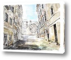 Иллюстрация, античная улица, дорога к церкви