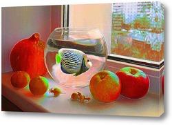 Натюрморт с безменом и яблоками.