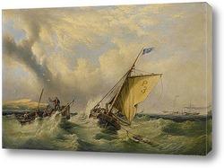 Торговая шхуна при волнении на море