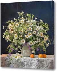 Букет полевых цветов с абрикосами