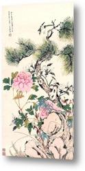 Горлицы и цветы персика