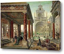 Картина Дворцовая архитектура с прогуливающимися