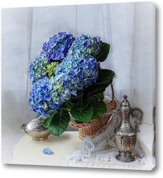Постер Натюрморт с голубой гортензией
