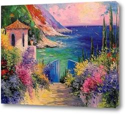 Красивая Амальфи, Италия.Вид с церковью