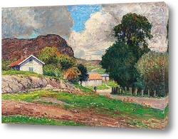 Осенний пейзаж с пастушкой и крупным рогатым скотом
