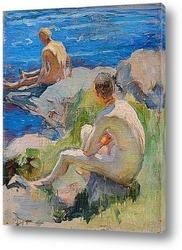 Весенний пляж с ивой