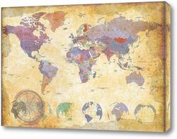 Картина Винтажная карта мира