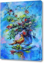Букет цветов и птичка
