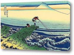 Отражение Фудзи на поверхность воды, вид горы Мисака в Косю
