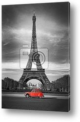 Эйфелева башня и красная машина Париж