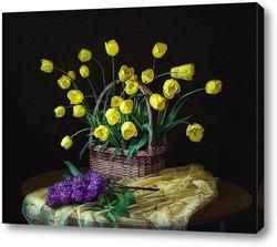 Постер С желтыми тюльпанами и сиренью