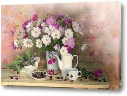 Картина Натюрморт с космеей и вишнями