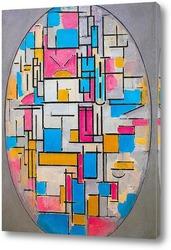Картина Композиция овальная с цветными плоскостями 1