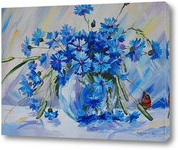 Постер Васильки и бабочка