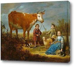 Постер Дети и корова