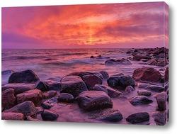 Постер Розовый закат на Балтике