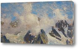 Картина Горы, снег и облака